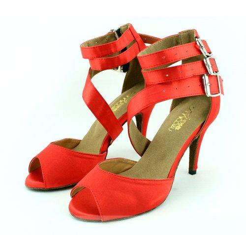 Zioso QJ6110 Womens Peep Toe Stiletto High Heel Red Satin Sexy Salsa Tango Ballroom Latin Ankle Strap Buckle Dance Sandals 9 M US
