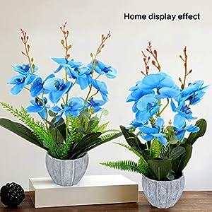 YOBANSA Big Size Orchid Bonsai Artificial Flowers with Imitation Porcelain Flower Pots Phalaenopsis Fake Flowers Arrangements for Home Decoration (Rose Red) 10