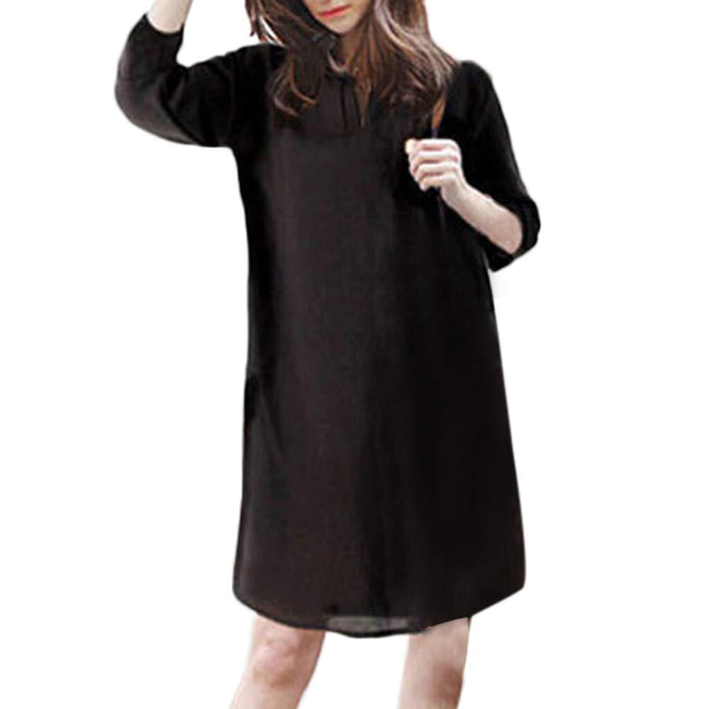 Ankola Shirt Dress Women Plus Size Cotton Linen Half Sleeve V Neck Loose Short Knee Dress (XL, Black)