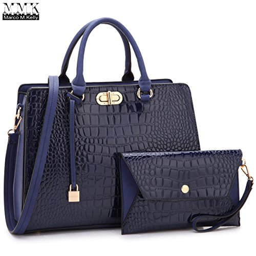 MMK Collection Fashion Stylist Handbag~Medium Size Women Satchel Handbag with Free Matching Clutches~Perfect Handbag Set for woment~Beautiful Satchel and tote handbag(7581) (MA-XL-10-7581-BL)