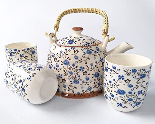 Diligent Farmer japanese tea cup ceramic teapot set, porcelain teapot, stainless steel soak, bloom and loose leaf chinese tea set teapot - 850ml,(blue pattern 1 teapots 6 teacups)