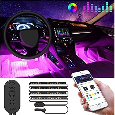Govee Unifilar Car LED Strip Light, MINGER APP Controller Car Interior Lights, Waterproof Multicolor Music Under Dash Lighting Kits for iPhone Android Smart Phone, Car Charger Included, DC 12V: Automotive