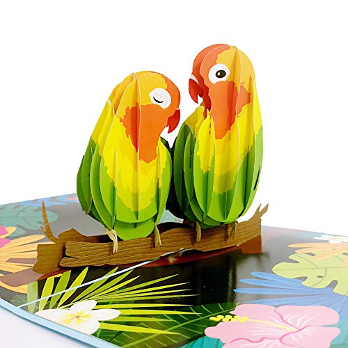 Liif Lovebirds Pop Up Card, 3D Greeting Pop Up Cards For All Occasions, Valentines Day, Mother's Day, Happy Birthday, Wedding Card, Anniversary Card, Anniversary Gifts - For Her, Wife, Couple (Bird Couple)