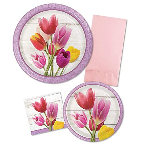 Floral Beautiful Blossoms Tulip Paper Plate & Napkin Disposable Tableware Set for 16 in Pink & Purple