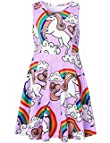 Unicorn Dresses for Girls Summer Party Cute Lavender Teens Rainbow Purple Casual