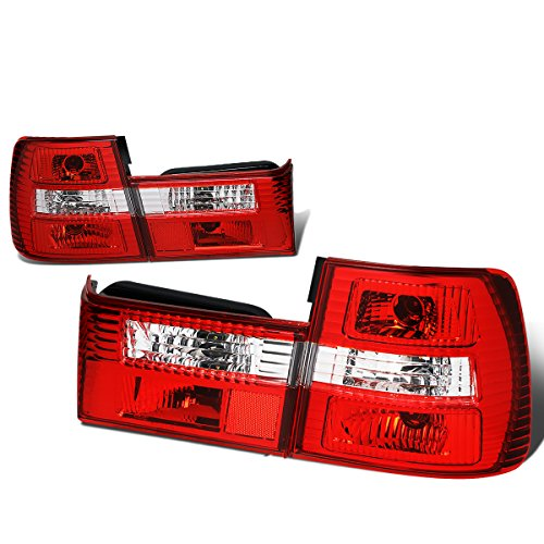 For 1989-1995 BMW 5-Series M5 E34 Pair Red/Clear Lens Tail Light Brake/Reverse Lamps ()