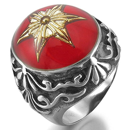 Costume Sims Diamond (Epinki,Fashion Jewelry Men's Stainless Steel Enamel Rings Silver Black Red Knight Fleur De Lis Lucky Jewish Star Of David Size)