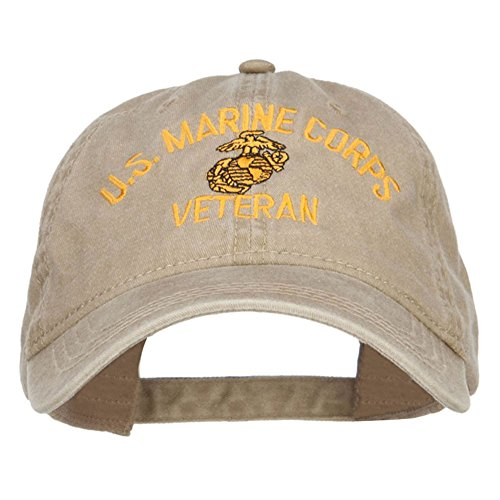 e4Hats.com US Marine Corps Veteran Military Embroidered Washed Cap - Khaki OSFM