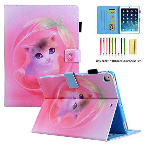 LittleMax iPad 9.7 2017/2018 Case, iPad Air 1 2 Case - Shockproof Protective Case Pencil Holder Auto Wake/Sleep Cover for iPad 9.7 Inch/iPad Air/iPad Air 2-05 Pink Cat
