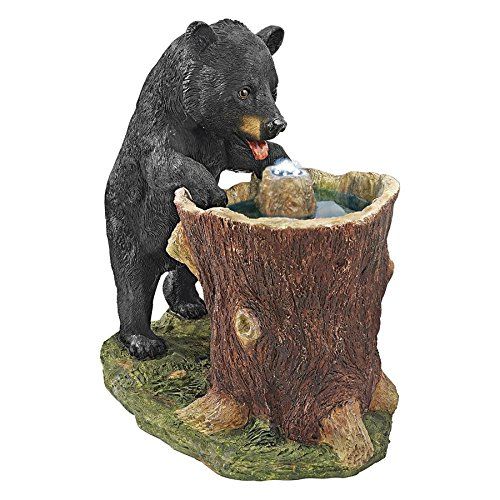 Water Fountain with LED Light - Guzzling Gulp Black Bear Garden Decor Fountain - Outdoor Water Feature