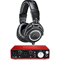 Audio-Technica ATH-M50X Professional Studio Headphones (Black) with USB Audio Interface Bundle Accessories