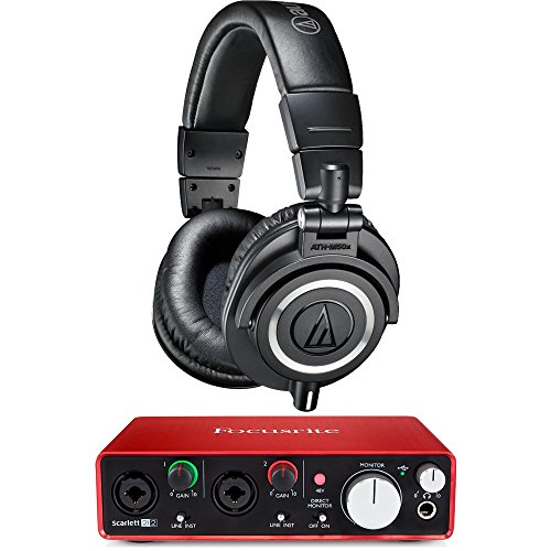 Audio-Technica ATH-M50X Professional Studio Headphones (Black) with USB Audio Interface Bundle Accessories