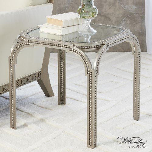 Luxe Beaded Edge Silver Metal Arch Side End Table | Accent Iron Williamsburg