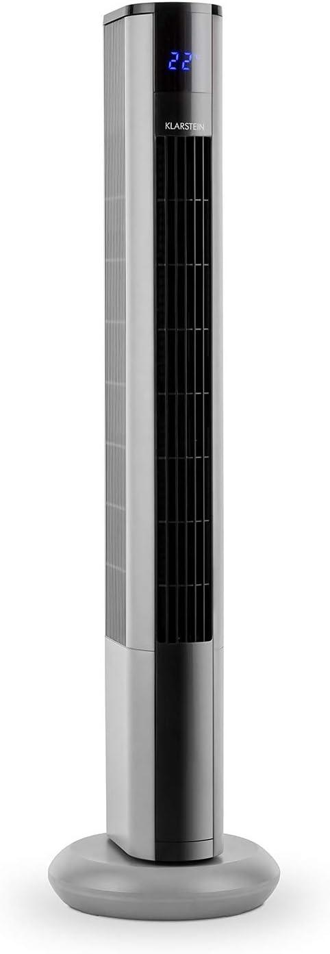 Klarstein Skyscraper 3G - Ventilador de Columna, Bajo Consumo, Función oscilación 90º, 3 Niveles de Velocidad, Programable, Panel táctil, Filtro Integrado, Mando a Distancia, 48 W, Plateado