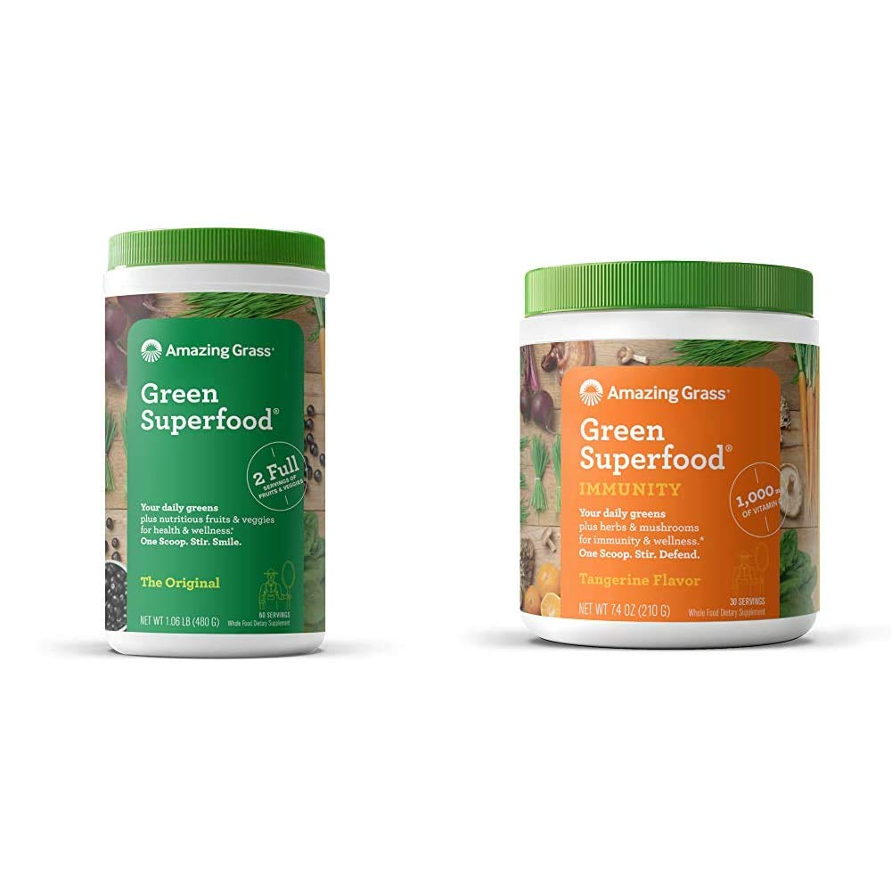 Amazing Grass Green Superfood: Super Greens Powder with Spirulina, Chlorella, 60 Servings & Green Superfood Immunity: Super Greens Powder with Vitamin C, Cordyceps & Reishi Mushrooms, 30 Servings