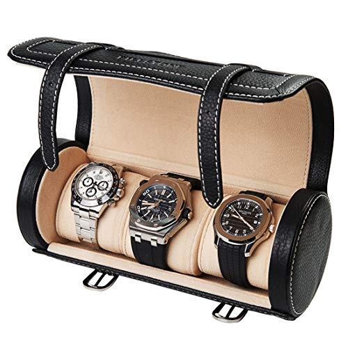 BILLSTONE Traveller Watch Roll for 3 Watches, Portable Watch Case, Travel Watch Organizer, Watch Box (Black Nappa Leather) ()