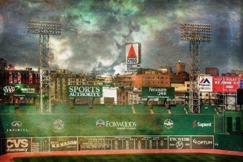 - Boston Red Sox Poster, Fenway Park Green Monster, Red Sox Art