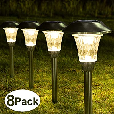 Solpex 8 Pack Solar Path Lights Outdoor, Waterproof Glass Stainless Steel High Lumen Automatic Solar Pathway Lights for Patio, Yard, Lawn, Garden and Landscape-Warm White(Silver Finish?