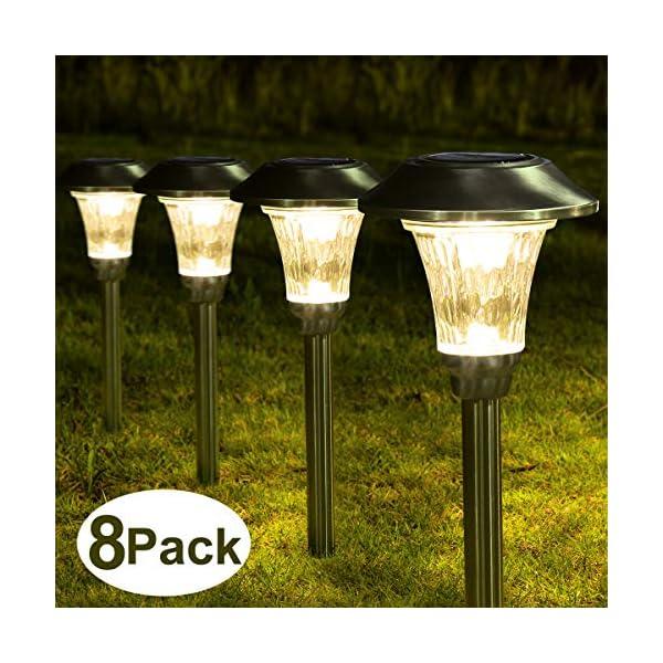Solpex 8 Pack Solar Path Lights Outdoor, Waterproof Glass Stainless Steel High Lumen...