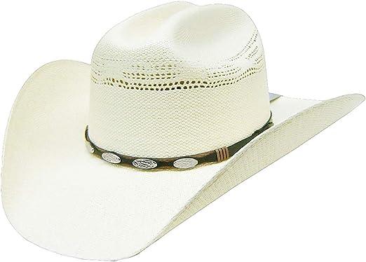 Modestone Unisex Native Woven Hatband Bangora Straw Cowboy Hat Off-White 60