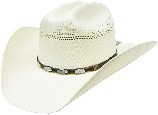 9a27515bfd12c Image Unavailable. Image not available for. Color  Modestone Unisex Straw  Cowboy Hat Bangora Metal Studs Hatband ...