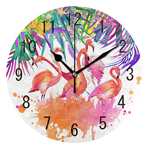 - ALAZA Home Decor Tropical Flower Leaves Flamingo Round Acrylic Wall Clock Non Ticking Silent Clock Art for Living Room Kitchen Bedroom