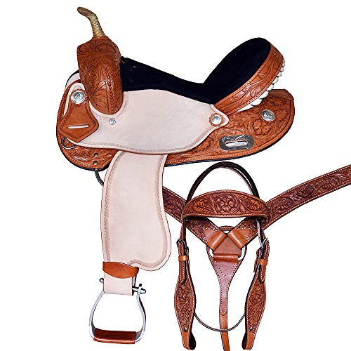 Great American M3-16″ Western Leather Horse Saddle Barrel Racing Trail Pleasure