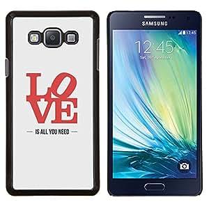 YiPhone /// Prima de resorte delgada de la cubierta del caso de Shell Armor - el amor es todo lo que necesita de carteles letras de color rojo - Samsung Galaxy A7 A7000