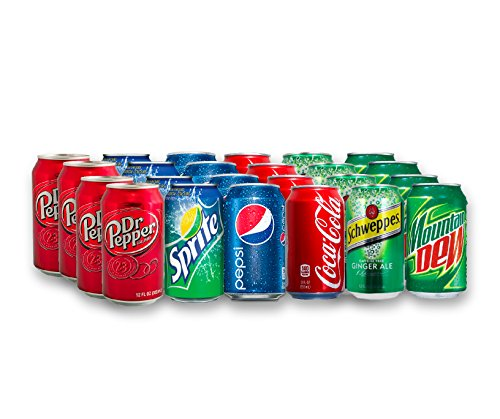 - 24 Can Soda Variety Pack - Assortment of Coke, Pepsi, Dr. Pepper, Mountain Dew, Sprite and Schweppes Ginger Ale - Home, Office or Party Refrigerator Restock Pack - By MaxPax