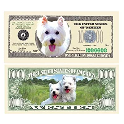 American Art Classics Pack of 5 - Westie Dog Million Dollar Bill - Best Gift for West Highland White Terrier Lovers: Toys & Games