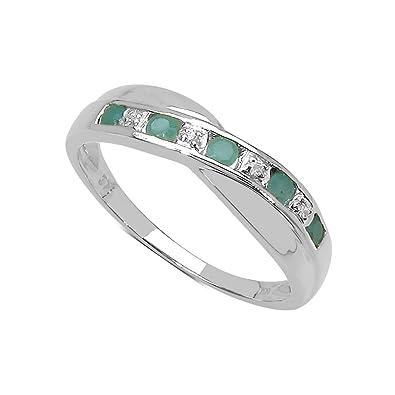 The Diamond Ring Collection 9ct White Gold Emerald & Diamond