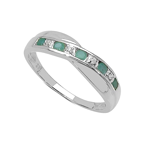 La Colección Anillo Diamante: Anillo Oro Blanco 9ct de Esmeralda y set Diamantes, Perfecto