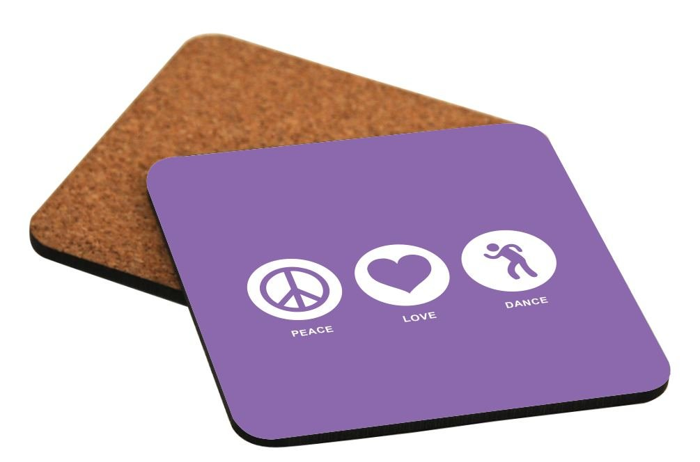 Rikki Knight Peace Love Dance Violet Color Design Cork Backed Hard Square Beer Coasters, 4-Inch, Brown, 2-Pack
