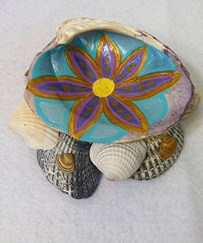 Painted seashell tray. Sturdy & beautiful wampum / for sale  Delivered anywhere in USA