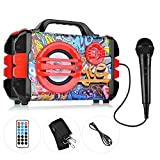 Karaoke Machine, Portable PA System with Handheld Microphone Speaker, Flashing Light, FM, Aux-in, TF Card Rechageable Battery for Kids and Adult