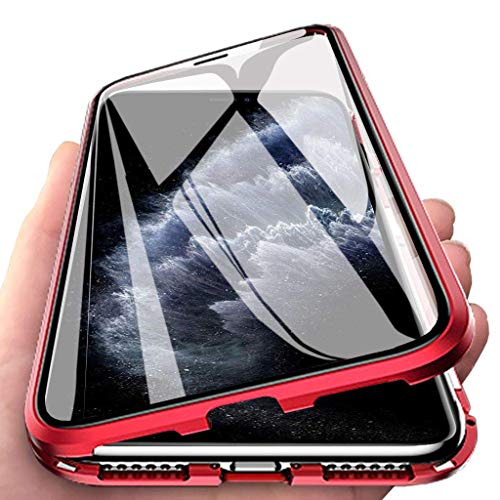 Yuege Privacy Magnetic Case for iPhone 11/Pro/Pro Max, Clear Double Sided Tempered Glass [Magnet Absorption Metal Bumper Frame] Thin Anti-Spy 360 Full Protective Case for Apple iPhone