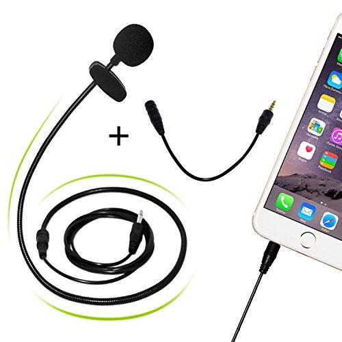 Lavalier Microphone HaoWorks HW55 3.5mm Comfortable Hands Free Clip-on Microphone for Smartphones Voice Amplifier Teaching YouTube and Video Recording