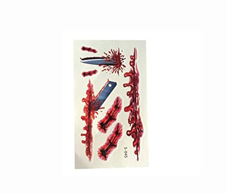 Halloween Zombie Cicatrices Tatuajes con Falsa costra sangrienta ...