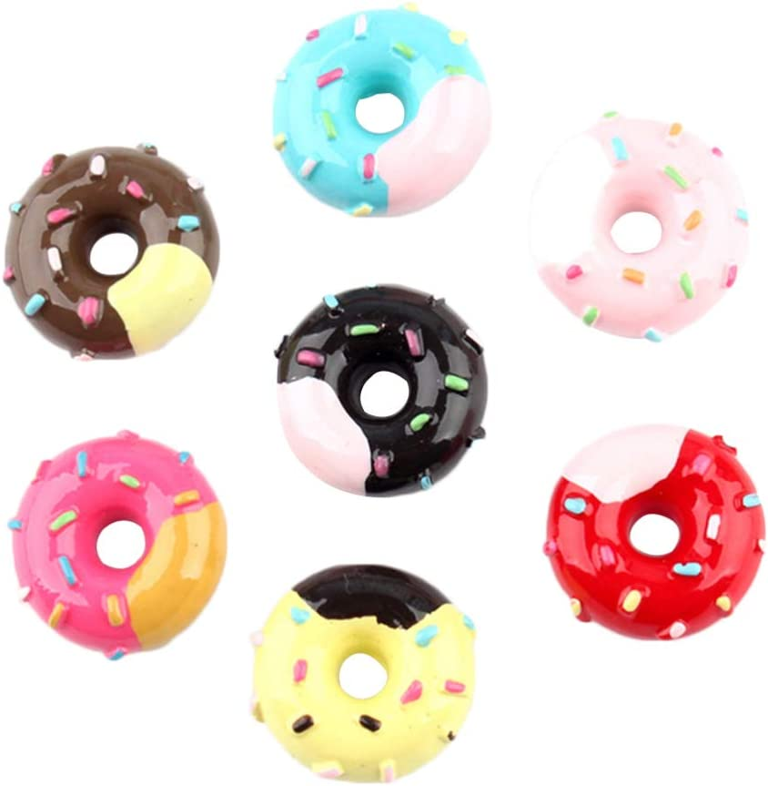 HEALLILY Resin Slime Charms Donut Shaped Resin Flatback Slime Beads Making Supplies for DIY Scrapbooking Crafts 20pcs