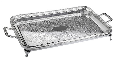 (Amanda Tableware Silver Plated Serving or Vanity Tray with Special Tarnish Resistant Finish That Never Needs Silver Polishing Made in England)