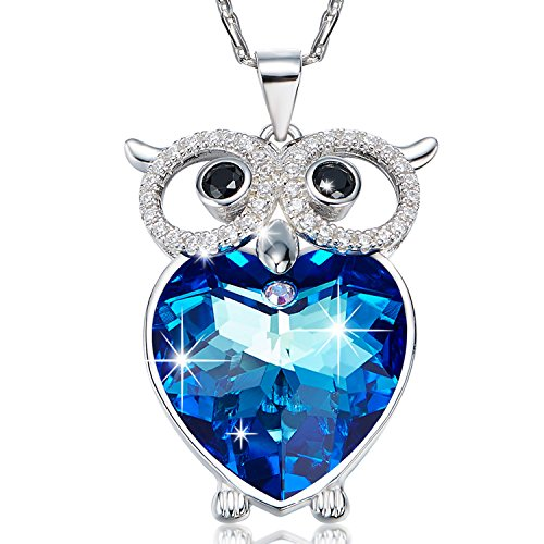 Blue Love Heart of the Sea Cute Owl Necklace 925 Sterling Silver Necklace with Blue Heart Swarovski Crystal