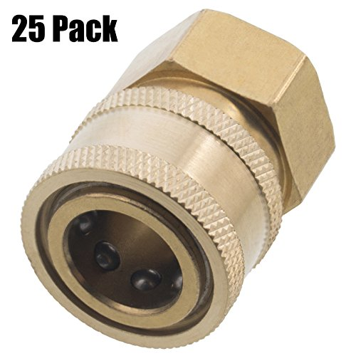 Erie Tools 25 Pressure Washer 3/8 Female NPT to Quick Connect Socket Brass Coupler, High Temp, 4000 PSI, 10.5 GPM by Erie Tools