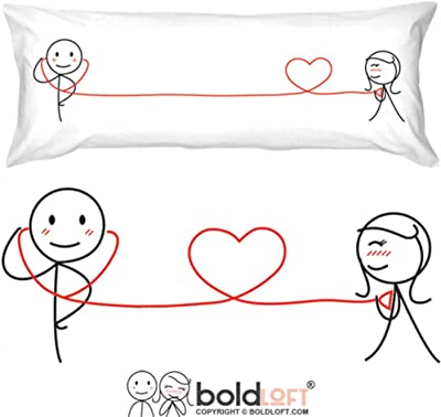BoldLoft My Heart Beats for You Body Pillow Cover- Gifts for Couples, for Him,Boyfriend,Husband,Couples Gifts for Him and Her,His and Hers Gifts, for Him
