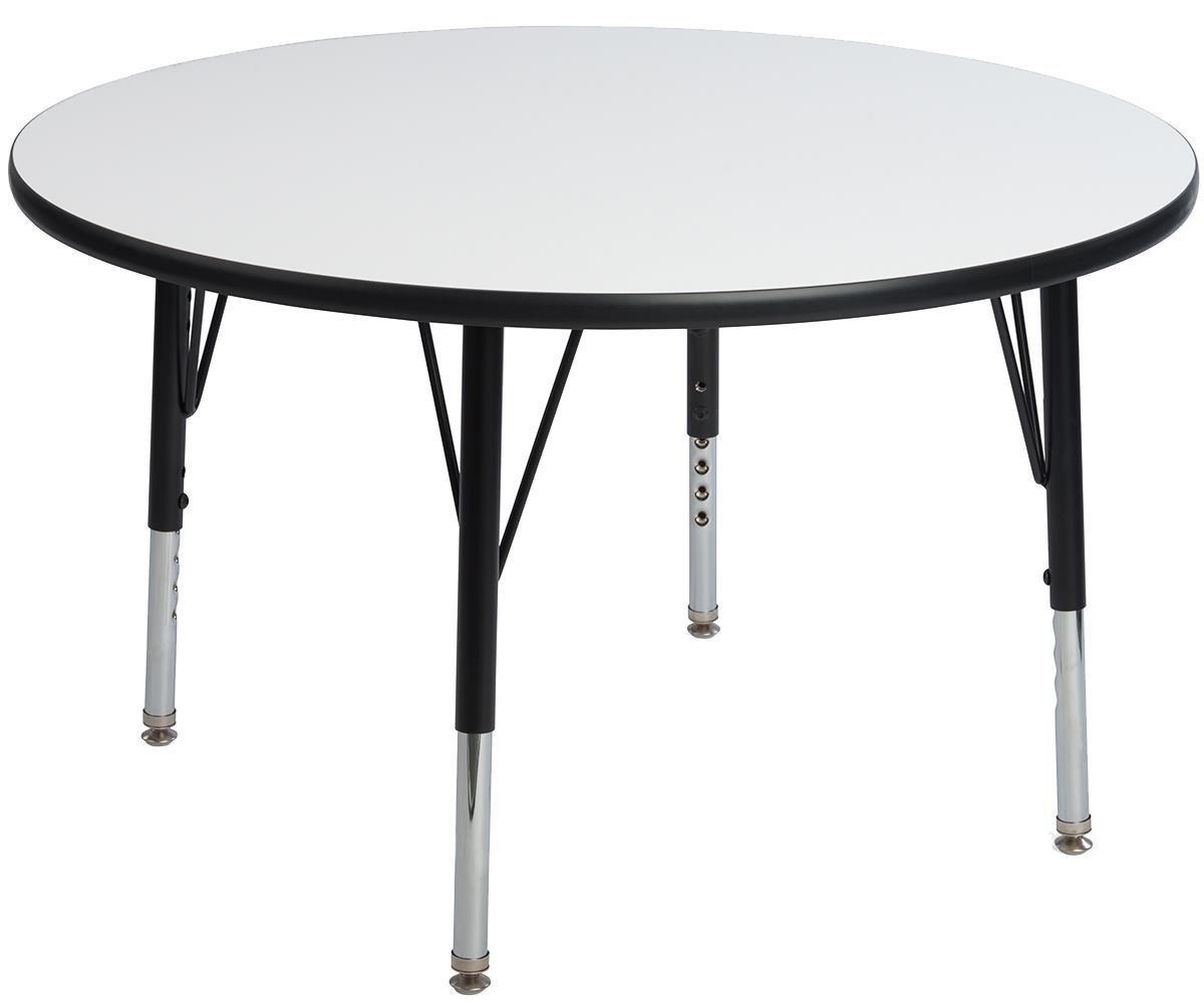 Displays2go Childrens Dry Erase Tables, Laminated Particle Board, Steel, Melamine – White Top, Black & Silver Legs (LCK36WBT)