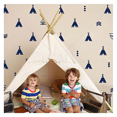 Set of 68 Tribal Decals Teepee arrow triangle kids room wall decal stickers wallpattern (Navy)
