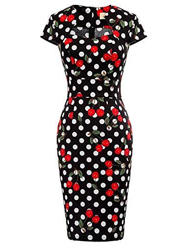 Women's 1950s Pinup Retro Vintage Short Sleeve Pencil Dress M CL7597-29, Fr-29(Cotton + Spandex)