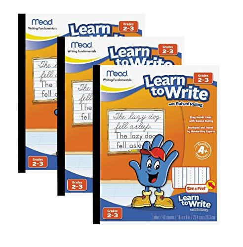 Mead See & Feel Learn to Write Tablet with Raised Ruling, Grades 2-3, 8