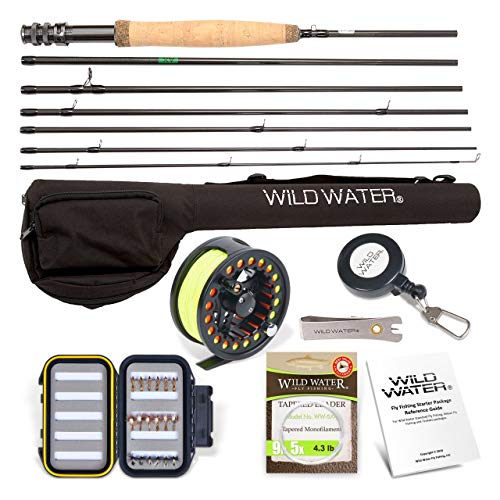 Wild Water Fly Fishing Rod and Reel Combo 7 Piece Fly Rod 5wt 9' Complete Starter Package