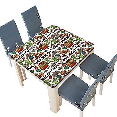 PINAFORE Spillproof Fabric Tablecloth Viva Mexico Native Elements Poncho Tequila Salsa Hot Peppers Image Multi Kitchen Decoration Washable 72.5 x 72.5 INCH (Elastic Edge)