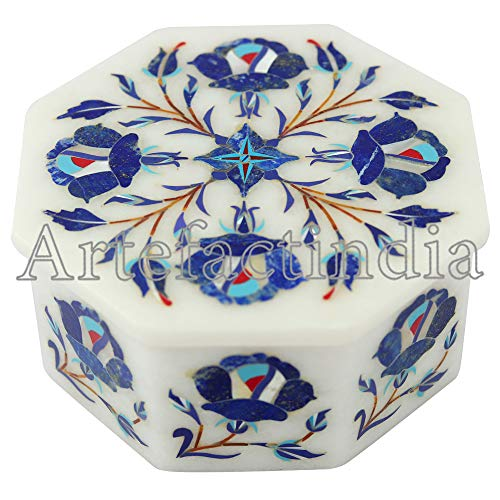 Artefactindia Magnificent White Marble Inlay Jewelry Box Decorated with Floral Art Best for Gift/Girls 4